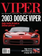 2001 Spring VIPER Magazine Cover Poster - 2003 Dodge Viper Rewrites the Book