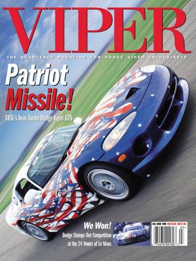 1999 Fall VIPER Magazine Cover Poster - Patriot Missle: SVSi's Twin-Turbo Dodge Viper GTS